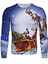 男性用 Tシャツ 3Dプリント グラフィック 3D 動物 プリント 長袖 クリスマス トップの ブルーホワイト