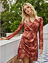 Women\'s Sheath Dress Short Mini Dress Red Long Sleeve Floral Print Fall Winter V Neck Elegant Vintage Going out 2021 S M L XL