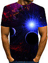 Homens Camiseta Camisa Social Impressao 3D Grafico 3D Tamanhos Grandes Estampado Manga Curta Diario Blusas Elegante Exagerado Decote Redondo Azul Vermelho Verde
