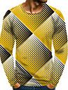 Homens Camiseta Camisa Social Impressao 3D Grafico 3D Tamanhos Grandes Estampado Manga Longa Diario Blusas Elegante Exagerado Decote Redondo Amarelo