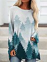 Women\'s Shift Dress Short Mini Dress Blue Green Long Sleeve Print Print Fall Round Neck Boho 2021 S M L XL XXL 3XL 4XL