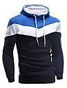 แฟชั่นผู้ชายแขนยาวเย็บปะติดปะต่อกันมีฮู้ดเสื้อกันหนาวเสื้อแจ็คเก็ตเสื้อโค้ททนกว่า (สีเทา, L)