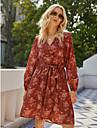 Women\'s Sheath Dress Knee Length Dress Red Long Sleeve Floral Lace up Fall Winter V Neck Elegant Vintage 2021 S M L XL