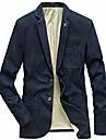 男性用 ブレザー ブレザー ビジネス ソリッド シングルブレスト 一つボタン レギュラー コットン 男性用 スーツ デニムブルー / ヴィンテージブルー / ブラック - Vネック
