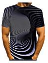 男性用 Tシャツ 3Dプリント グラフィック 抽象的 3D プラスサイズ プリント 半袖 日常 トップの ブラック / ホワイト パープル イエロー