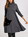 Women\'s Swing Dress Knee Length Dress Long Sleeve Print Cat Patchwork Print Fall Spring Casual 2021 Dusty Blue Gray S M L XL XXL