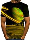 Homens Camiseta Camisa Social Impressao 3D Grafico 3D Tamanhos Grandes Estampado Manga Curta Diario Blusas Elegante Exagerado Decote Redondo Azul Roxo Vermelho