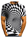 Men\'s T shirt 3D Print Graphic Abstract 3D Print Short Sleeve Daily Tops Black / White