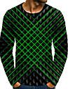Homens Camiseta Camisa Social Impressao 3D Grafico 3D Tamanhos Grandes Estampado Manga Longa Diario Blusas Elegante Exagerado Decote Redondo Verde