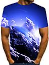 男性用 Tシャツ シャツ 3Dプリント グラフィック 3D プラスサイズ プリント 半袖 日常 トップの エレガント 誇張された ラウンドネック ブルー パープル イエロー