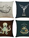 sada 4 oceánských zvířecích pláten hranatých dekorativních polštářů na polštáře 18x18