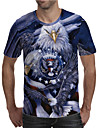 Men\'s T shirt Shirt 3D Print Graphic Animal Plus Size Print Short Sleeve Daily Tops Elegant Exaggerated Round Neck Gray