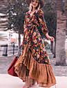 Γυναικεία Φόρεμα ριχτό από τη μέση και κάτω Μακρύ φόρεμα Ουράνιο Τόξο Μακρυμάνικο Φλοράλ Σκίσιμο Με Βολάν Στάμπα Φθινόπωρο Άνοιξη Λαιμόκοψη V Κομψό Λεπτό 2021 Τ M L XL