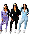 Women\'s 2 Piece Cropped Tracksuit Sweatsuit Street Athleisure 2pcs Winter Long Sleeve Velour Thermal Warm Breathable Soft Fitness Gym Workout Running Jogging Training Sportswear Solid Colored Normal