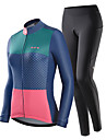Nuckily Women\'s Long Sleeve Cycling Jersey with Tights Winter Blue+Pink Polka Dot Bike Warm Sports Polka Dot Road Bike Cycling Clothing Apparel / Stretchy / Athletic