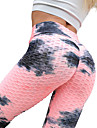 Women\'s High Waist Yoga Pants Scrunch Butt Ruched Butt Lifting Tights Leggings Tummy Control Butt Lift Quick Dry Tie Dye Pink+Green Green / Black Rose Pink / Blue Fitness Gym Workout Running Winter