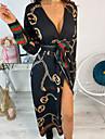Women\'s Wrap Dress Midi Dress Dusty Blue Orange White Black Long Sleeve Print Patchwork Print Fall Spring V Neck Casual 2021 S M L XL XXL / Plus Size / Plus Size