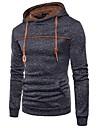 男性用 プルオーバーフーディースウェットシャツ 純色 フード付き 日常 ベーシック カジュアル パーカー トレーナー 長袖 ブルー ライトグレー ブラック