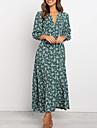 Γυναικεία Φόρεμα σε ευθεία γραμμή Μακρύ φόρεμα Πράσινο του τριφυλλιού Βαθυγάλαζο 3/4 Μήκος Μανικιού Φλοράλ Σκίσιμο Στάμπα Καλοκαίρι Λαιμόκοψη V Καθημερινό Λεπτό 2021 Τ M L XL