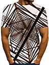 Herre T-shirt 3D-udskrivning Grafisk Trykt mønster Kortærmet Daglig Toppe Gade Sort Blå Lysebrun