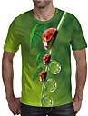 Homens Camiseta Impressao 3D Grafico Tamanhos Grandes Estampado Manga Curta Diario Blusas Elegante Exagerado Verde