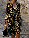 Women\'s Sheath Dress Knee Length Dress Black 3/4 Length Sleeve Floral Print Fall Spring V Neck Elegant 2021 M L XL XXL 3XL