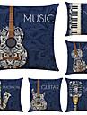 sada 6 uměleckých hudebních nástrojů lněné čtvercové dekorativní polštářky na polštáře na potahy na polštáře 18x18