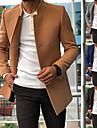 בגדי ריקוד גברים מעיל יומי סתיו חורף קצר מעיל עומד רגיל סגנון רחוב Jackets שרוול ארוך אחיד טלאים פול אפור חאקי