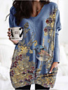 Per donna Vestito a trapezio Mini abito corto Blu Manica lunga Animali Con stampe Autunno Inverno A V Casuale Largo 2021 S M L XL XXL 3XL
