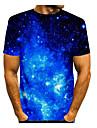 Men\'s T shirt Shirt 3D Print Graphic 3D Print Short Sleeve Daily Tops Round Neck Blue