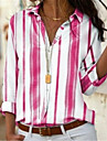 여성용 플러스 사이즈 블라우스 셔츠 줄무늬 긴 소매 셔츠 카라 베이직 탑스 옐로우 블러슁 핑크 그레이