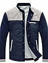 מעיל צבאי לגברים קל משקל צווארון מעמד מעיל עילי מעיל הלבשה עליונה (אפור, גדול פי 5)