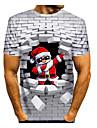 Erkek T gömlek 3D Baskı Grafik 3D Hayvan Desen Kısa Kollu Noel Üstler Yuvarlak Yaka Beyaz
