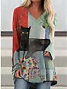 vestito a trapezio da donna corto miniabito gatto grafico manica lunga color block stampa patchwork animale autunno casual 2021 blu m l xl xxl 3xl