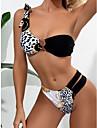 Dámské Bikiny Plavky Vystřižený Tisk Leopard Trávová zelená Černá Plavky S vycpávkou Plavky Módní Sexy
