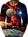 Homens Camiseta Camisa Social Impressao 3D Grafico 3D Tamanhos Grandes Estampado Manga Longa Diario Blusas Decote Redondo Arco-iris / Esportes