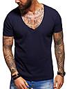 herr-t-shirt tee grundläggande djup v-ringad avslappnad enfärgad mode muskel fitness träning avslappnad premium topp
