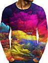 Homens Camiseta Impressao 3D Grafico 3D Tamanhos Grandes Estampado Manga Longa Diario Blusas Arco-iris