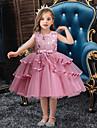 barn smaa jenters festkjole ensfarget lagdelt kjole mesh lappeteppe sloeyfe blaa roed roedmende rosa knelang ermeloes grunnleggende soete kjoler vanlig passform 2-10 aar