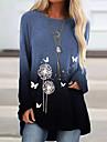 Per donna Vestito svasato Mini abito corto Blu Viola Verde Manica lunga Con stampe Autunno Rotonda Casuale Largo 2021 S M L XL XXL 3XL