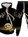 Men\'s Women\'s 3D Hoodies Set Graphic 3D Music 2 Piece Front Pocket Hooded Daily 3D Print 3D Print Casual Hoodies Sweatshirts  Long Sleeve Blue Gold White