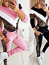 女性用 2個 スプライス トラックスーツ スウェットスーツ カジュアル アスレイジャー 2個 冬 長袖 保温 高通気性 ソフト フィットネス ジムトレーニング ジョギング しつけ用品 スポーツウェア レオパード 標準 スウェットシャツ トラックパンツ ブラック ピンク アクティブウェア マイクロエラスティック