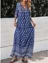 Women\'s Shift Dress Maxi long Dress Blue 3/4 Length Sleeve Print Lace up Patchwork Print Fall V Neck Casual 2021 M L XL XXL 3XL