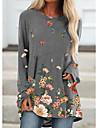 Per donna Abito a T shirt Mini abito corto Blu Grigio Cachi Manica lunga Fantasia floreale Collage Con stampe Autunno Primavera Rotonda Casuale Largo 2021 S M L XL XXL 3XL 4XL 5XL / Taglie forti