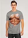 Herre T-shirt 3D-udskrivning Grafisk 3D Muskel Trykt mønster Kortærmet Daglig Toppe Grå