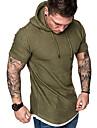 miesten muoti rento hupullinen t-paita lyhythihainen yksivärinen kesähupullinen t-paita - 5väri harmaa