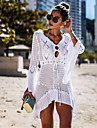 Women\'s A Line Dress Short Mini Dress White Black Blue Red Blushing Pink Orange Green Sky Blue Royal Blue Beige Long Sleeve Solid Color Lace up Hollow To Waist Summer Round Neck Hot Sexy 2021 One-Size