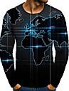 T-shirt Homme 3D effet Graphique 3D Grandes Tailles Imprime Manches Longues Quotidien Des sports Standard Polyester Col Rond