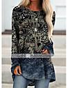 Women\'s Shift Dress Knee Length Dress Blue Purple Yellow Dusty Blue Brown Long Sleeve Print Print Fall Round Neck Casual 2021 S M L XL XXL 3XL