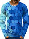 Homens Camiseta Impressao 3D Grafico 3D Tamanhos Grandes Estampado Manga Longa Diario Blusas Azul